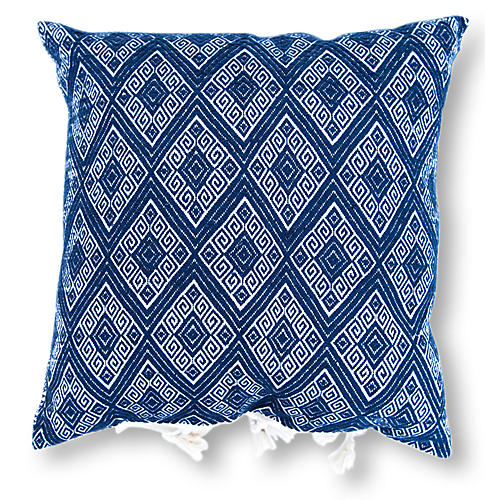 Cardinal Points 18x18 Pillow, Navy Blue
