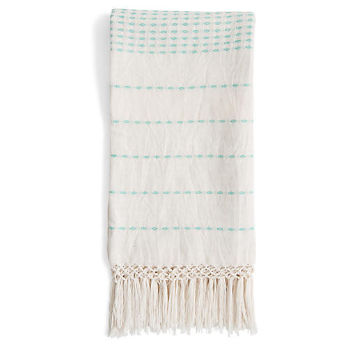 Lineas Cotton Throw, Mint Green