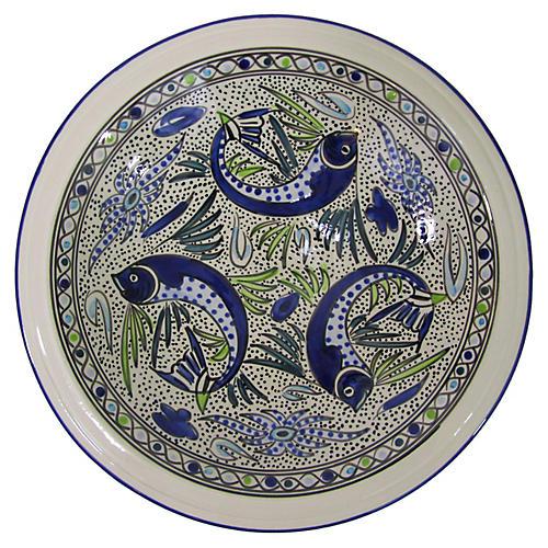 Aqua Fish Small Serving Bowl, Cobalt Blue