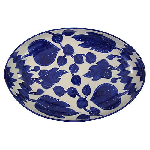 Jinane Poultry Platter, Cobalt Blue/White