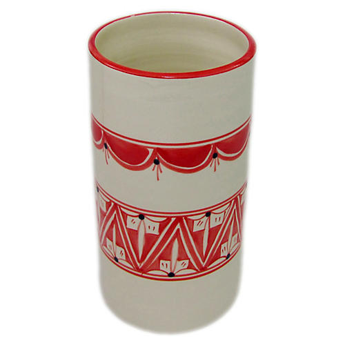 Nejma Utensil Holder, Red/White