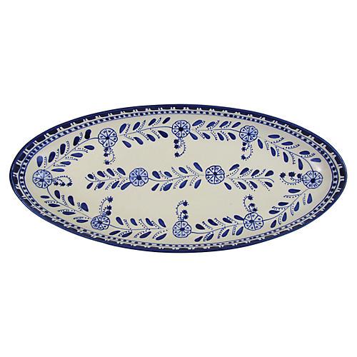 Azoura Extra Large Platter, Blue/White
