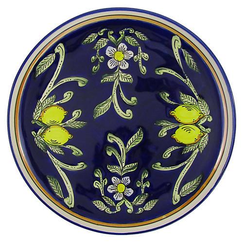 Citronique Round Platter, Deep Cobalt