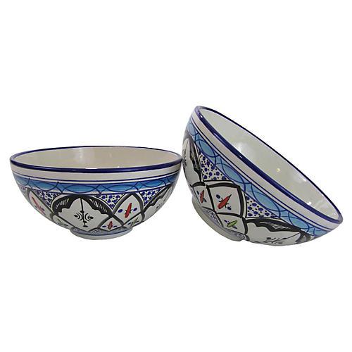 S/2 Tibarine Deep Dinner Bowls, Light Cobalt Blue
