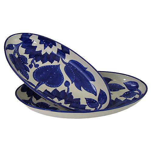 S/2 Jinane Large Platters, Cobalt Blue/White
