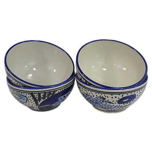 S/4 Aqua Fish Soup Bowls, Cobalt Blue