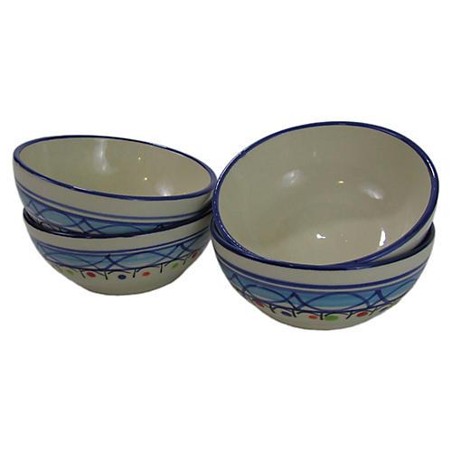S/4 Tibarine Deep Sauce Dishes, Light Cobalt Blue
