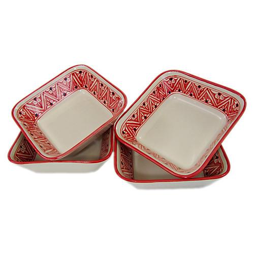 S/4 Nejma Salad Plates, Red/White