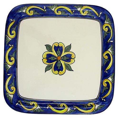 Riya Square Platter, Blue/White