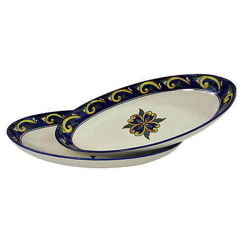 S/2 Riya Large Oval Platters, Blue/White