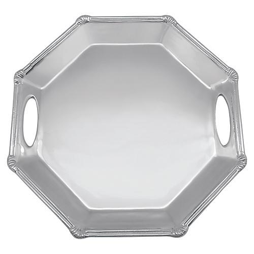Rattan Octagonal Tray, Silver