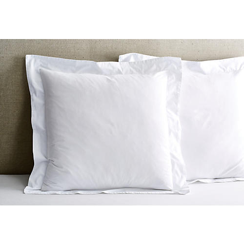S/2 Washed Sateen Euro Shams, White