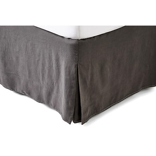 Washed Linen Bed Skirt, Coal