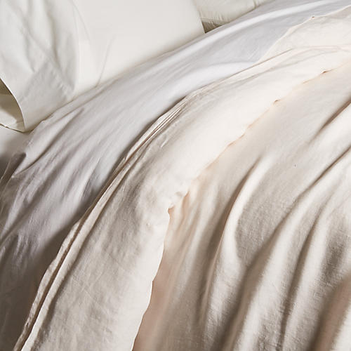 Washed Linen Duvet Cover, Blush