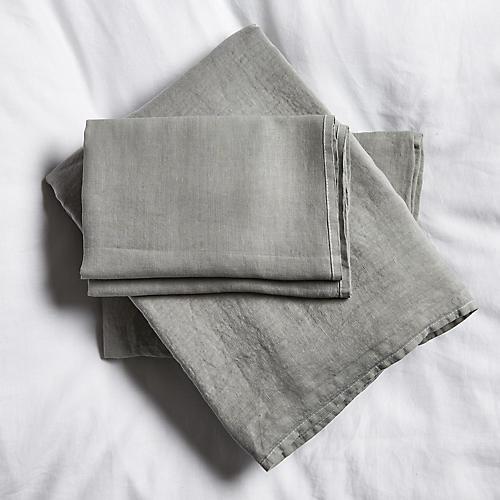 Washed Linen Sheet Set, Gray