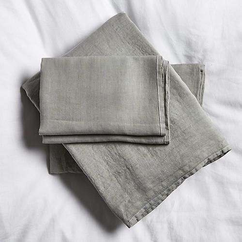 Washed Linen Sheet Set, Gray