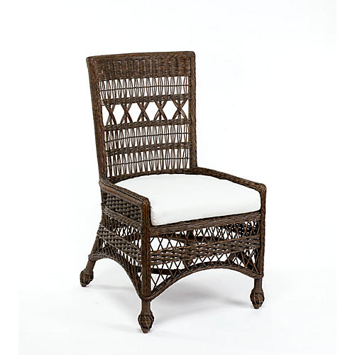 Bar Harbor Wicker Side Chair, Dark Walnut