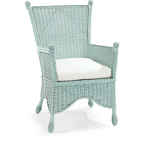 Beehive Wicker Accent Chair, Sky Blue
