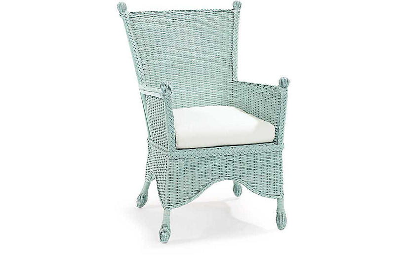 Beehive Wicker Accent Chair - Sky Blue