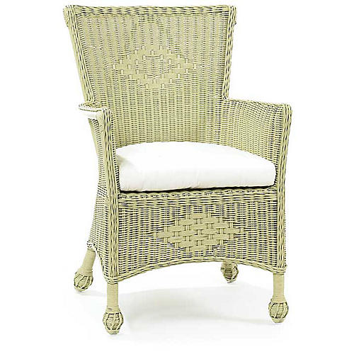 Veranda Wicker Armchair, Pale Sage