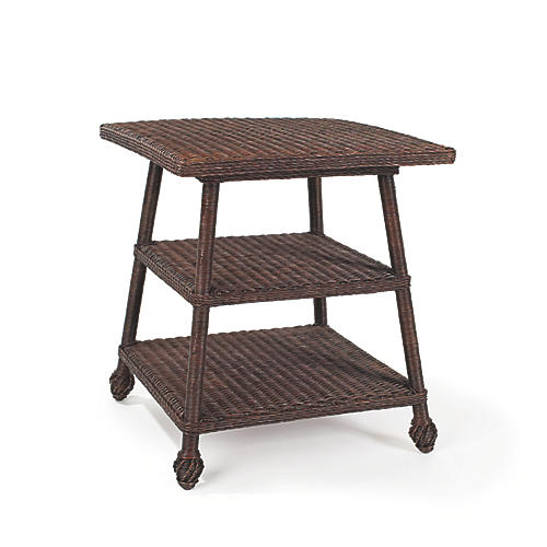 Wicker Tiered Side Table, Dark Walnut