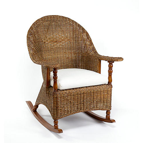 Eastern Shore Wicker Rocking Chair, Chestnut