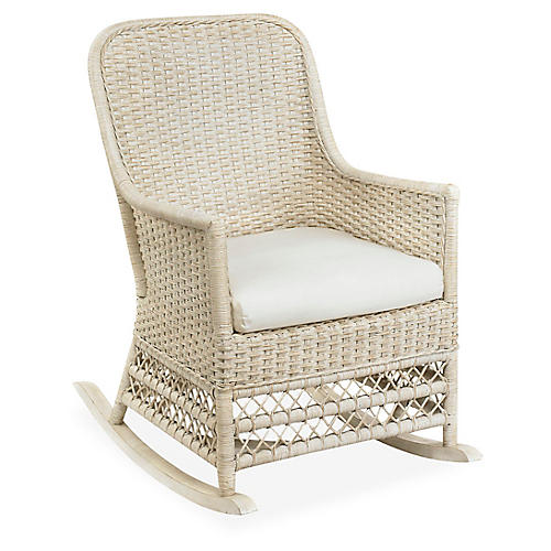 Catalina Wicker Rocking Chair, Antiqued White