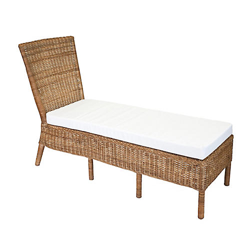 Sausalito Armless Wicker Chaise, Chestnut