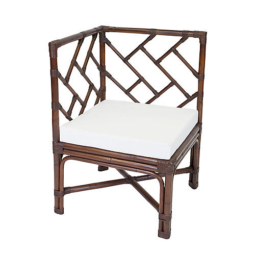 Cozi Rattan Accent Chair, Dark Walnut