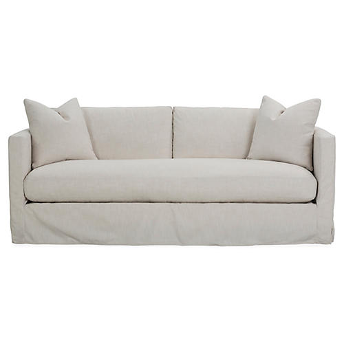 Shaw Slipcover Bench-Seat Sofa, Ivory Crypton