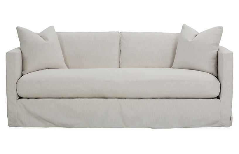 Shaw slipcover bench seat sofa ivory crypton one kings for King furniture slipcovers