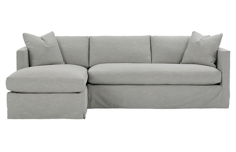 Shaw Left Bench-Seat Sectional, Mist Crypton
