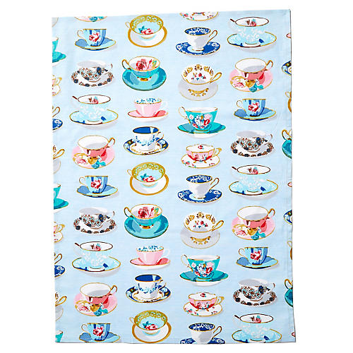 Tea Time Tea Towel, Blue/Multi