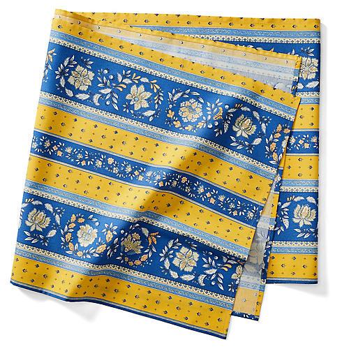 Vence Stripe Table Runner, Blue/Yellow