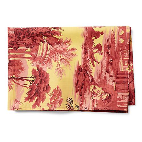 Toile Tea Towel, Red/Saffron