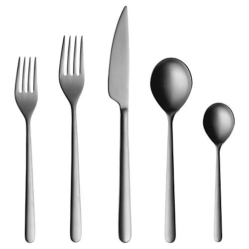 5-Pc Linea Place Setting, Dark Gray