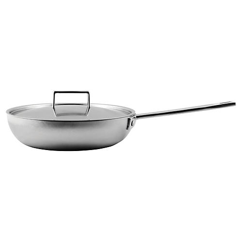 "10.5"" Attiva Handled Frying Pan w/Lid, Silver"