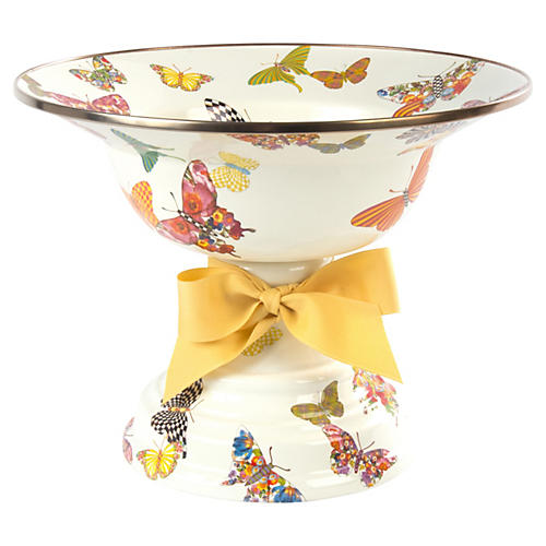 Butterfly Garden Compote, White