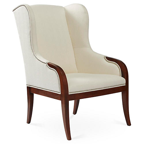 Anne Wingback Chair, White Crypton