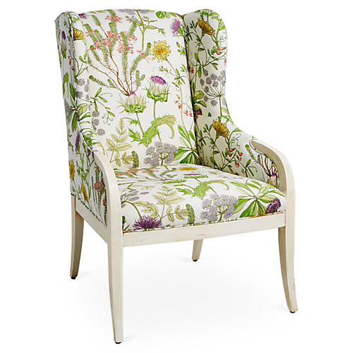 Anne Wingback Chair, Wild Oasis
