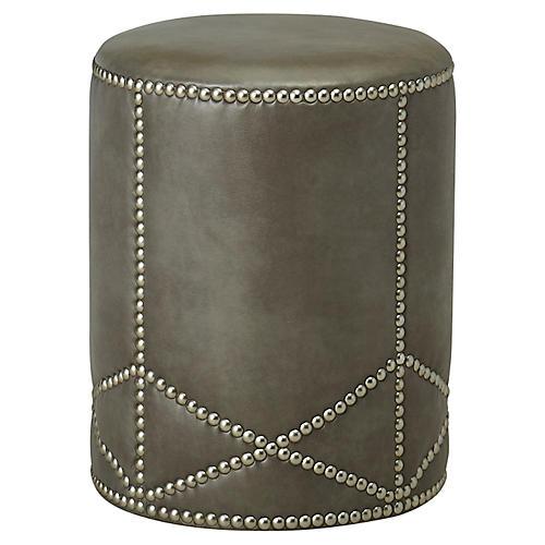 Olson Ottoman, Gray Leather