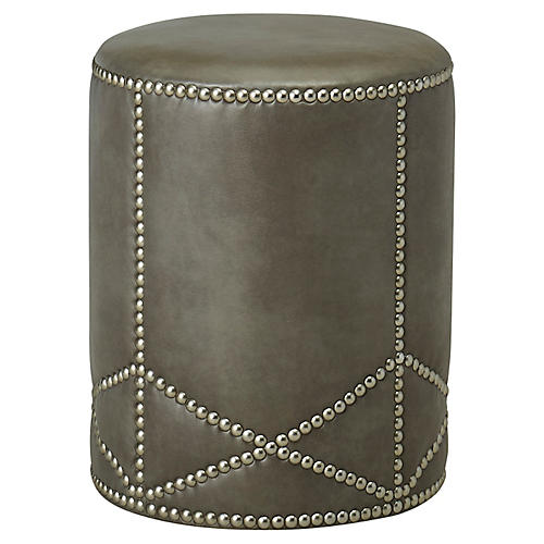 Olson Ottoman, Gray Leather