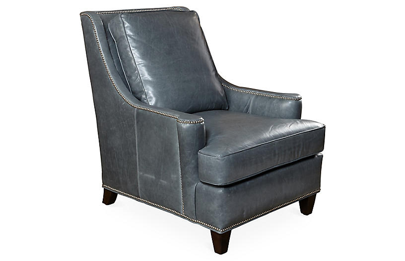 Buhl Club Chair, Storm-Gray Leather