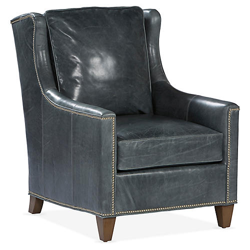 Varick Wingback Chair, Pewter Leather
