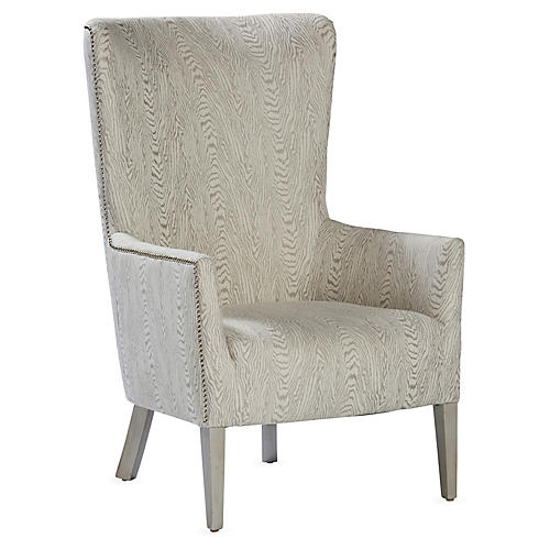 Ethan Wingback Chair, Silver