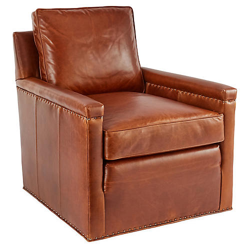 Miller Swivel Chair, Caramel Leather