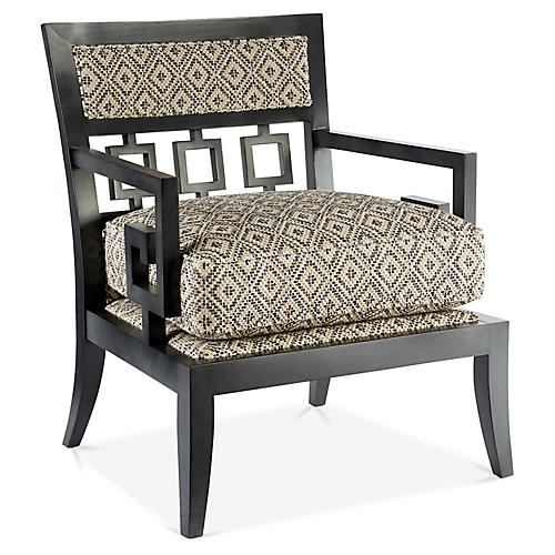 Beccy Accent Chair, Cream/Black Geo