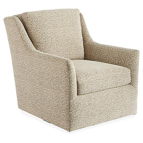 Eckford Swivel Chair, Ivory/Gray Spots