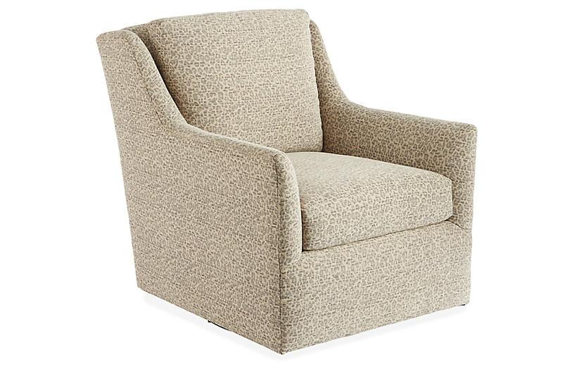 Eckford Swivel Chair, Ivory/Gray