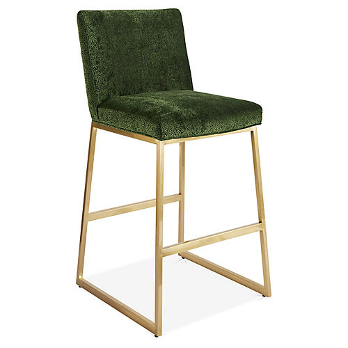 Hollas Counter Stool, Emerald/Brass